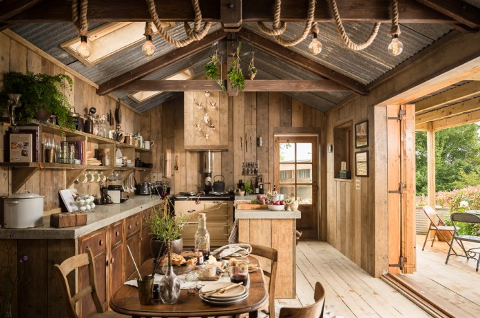 Interior shot showing rustic wooden cabin in Trebudannon Cornwall
