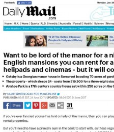 Want To Be Lord of The Manor For a Night?