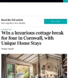 Win a luxurious cottage break for four in Cornwall, with Unique Home Stays