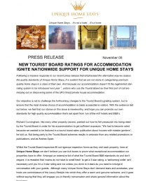 NEW TOURIST BOARD RATINGS FOR ACCOMMODATION IGNITE NATIONWIDE SUPPORT FOR UNIQUE HOME STAYS