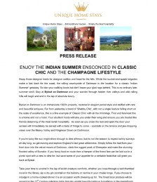 ENJOY THE INDIAN SUMMER ENSCONCED IN CLASSIC CHIC AND THE CHAMPAGNE LIFESTYLE