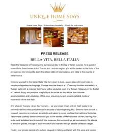 BELLA VITA, BELLA ITALIA