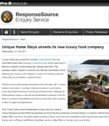 Unique Home Stays unveils its new luxury food company