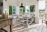 The bright and rustic dining area