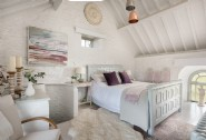 Luxury cool coastal interiors of the master bedroom