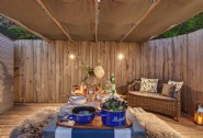 For cosy al fresco dinners, pull the canopy overhead for ultimate privacy