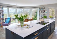 The luxurious kitchen was hand-built and features Gaggenau appliances