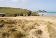 Holywell Bay is just three miles away