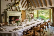 Host dinner parties in the grand dining room, complete with a fireplace