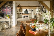 The open-plan kitchen and dining area of Huckleberry