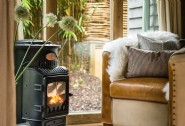 Gas woodburner for cosy nights in