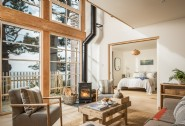 Ground floor open-plan living space with a cosy woodburner