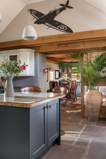 Spitfire art work inspired interiors in a romantic self-catering holiday home