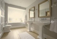 The grand master bedroom en suite with bath and separate shower