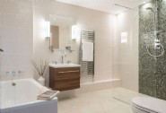 The luxury bathroom with a separate shower