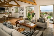 Open-plan living room with views across the Wiltshire countryside