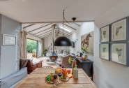 The open-plan living area at The Wool Shed, North Cornwall