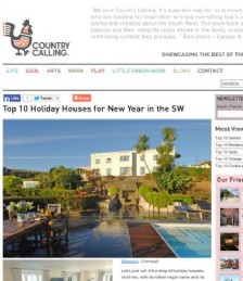 Top Ten Holiday Houses for New Year in the South West