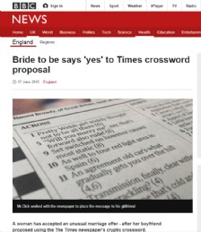 Bride to be says ´yes´ to Times crossword proposal