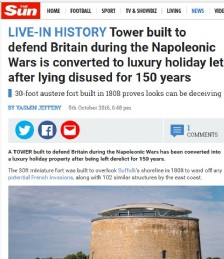 Tower Built to Defend Britain During the Napoleonic Wars is Converted to Luxury Holiday Home