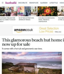 This glamorous beach hut home in Cornwall is now up for sale