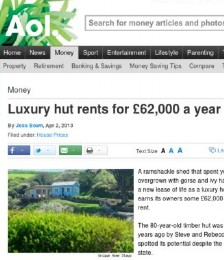 Luxury hut rents for £62,000 a year