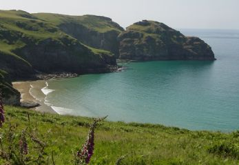 Secluded cove at Tintagel in Cornwall